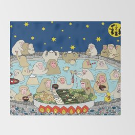 Snow Monkeys in Hot Spa Throw Blanket