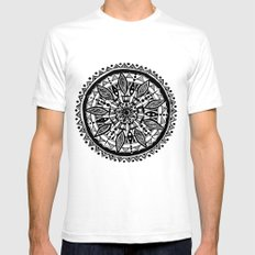 Black sunflower White SMALL Mens Fitted Tee