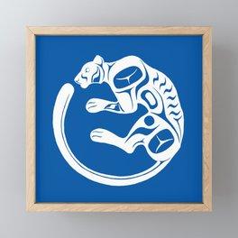 Formline Cougar circular design Framed Mini Art Print