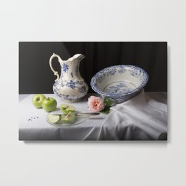 Delft blue china and apples still life Metal Print