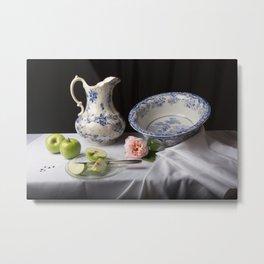 Delft blue china and apples still life Metal Print