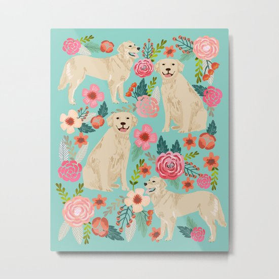 Golden retrievers must have florals mint pastel gender neutral dog art cute pet portraits labrador  Metal Print
