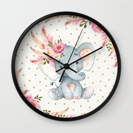 Boho Floral Elephant - Pink & Faux Gold Wall Clock