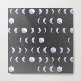 Moon Phases on Textured Grey Metal Print