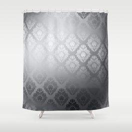 """Neutral gray Damask Pattern"" Shower Curtain"