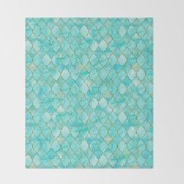 Luxury Aqua Teal and Gold oriental quatrefoil pattern Throw Blanket