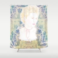 marie antoinette Shower Curtains featuring MARIE ANTOINETTE by Itxaso Beistegui Illustrations