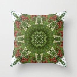 Cardinal flower and Culver's root kaleidoscope Throw Pillow