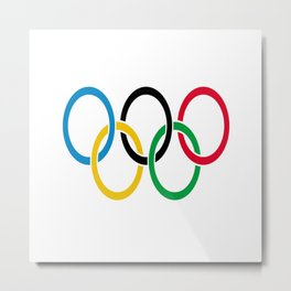 Flag of olympics games-olympic,olympic game,sport,coubertin, circles,medal,fun,international Metal Print