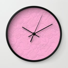 .Embossed roses on a pink background with decorative elements. Wall Clock