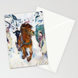 Galloping Horse by Edvard Munch Stationery Cards