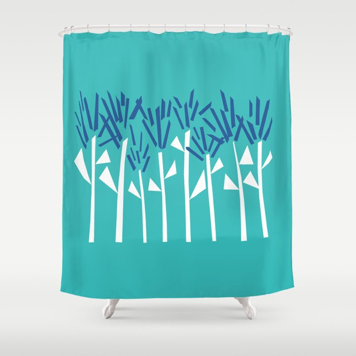 Tropical Blue Plants by Emma Freeman Designs Shower Curtain