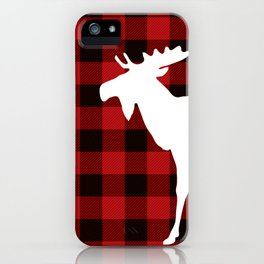 White Moose | Red Buffalo Plaid iPhone Case