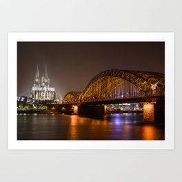 Hohenzollerrn bridge and dom in Cologne Art Print