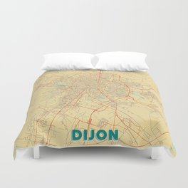 Dijon Map Retro Duvet Cover