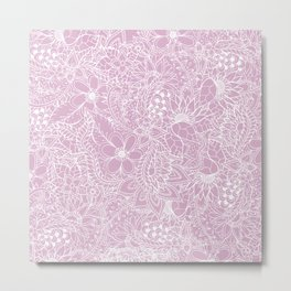 Modern trendy white floral lace hand drawn pattern on mauve pink lavender Metal Print