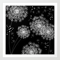 dandelion Art Prints featuring DANDELIOn by Monika Strigel