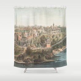 Vintage Pictorial Map of Mount Vernon VA (1859) Shower Curtain
