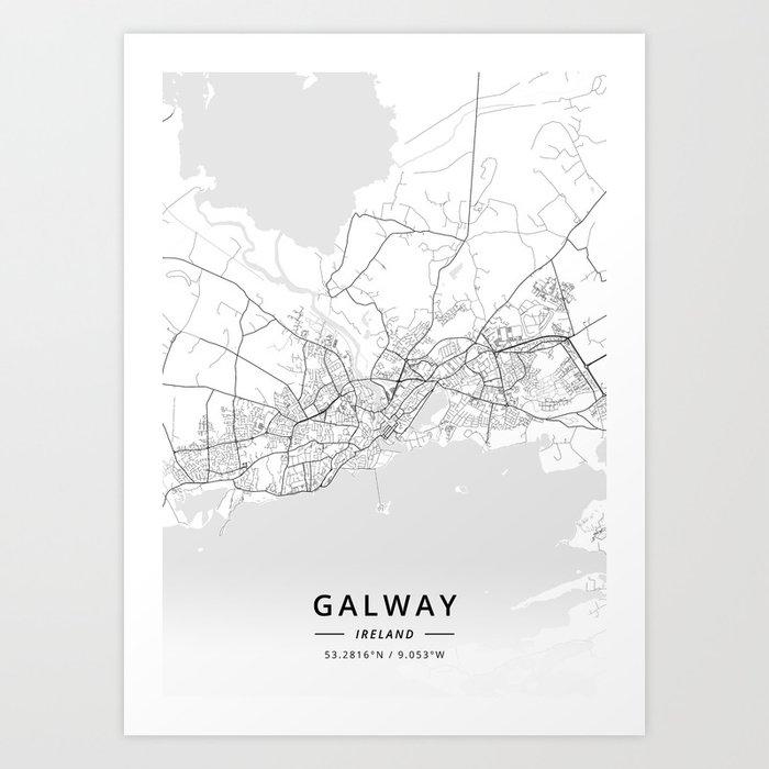 Map Of Ireland Galway.Galway Ireland Light Map Art Print By Designermapart