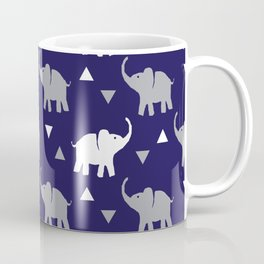 Elephants & Triangles - Navy Blue / Gray / White Coffee Mug