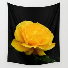 Golden Yellow Rose Isolated on Black Background Wall Tapestry