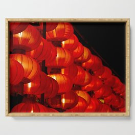 Vibrant red Chinese lanterns Serving Tray