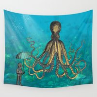 diver Wall Tapestries featuring Octopus & The Diver by Mary Kilbreath