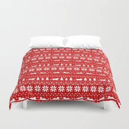 Cat Lover's Christmas Sweater Pattern Duvet Cover