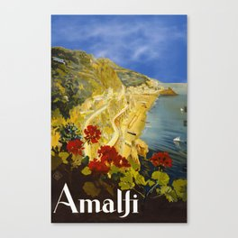 Vintage Amalfi Italy Travel Canvas Print