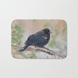 Winter Red-winged Blackbird Bath Mat