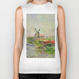 "Claude Monet ""Tulip field in Holland (Champ de tulipes en Hollande)"" Biker Tank"