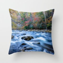Fall in the Smokies - Autumn Colors at Laurel Creek in Smoky Mountains Throw Pillow