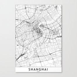 Shanghai White Map Canvas Print