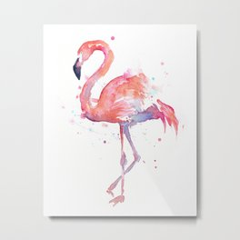 Flamingo Watercolor Metal Print