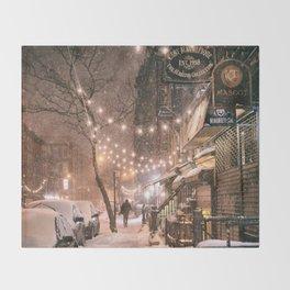 Snow - New York City - East Village Throw Blanket