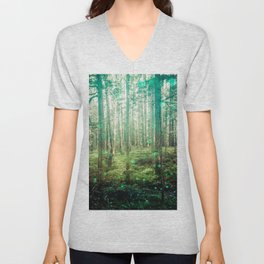 Magical Green Forest - Nature Photography Unisex V-Neck