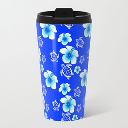 Blue Floral And Turtles Hawaiian Pattern Travel Mug