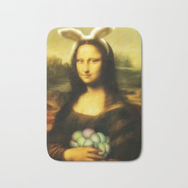 Easter Mona Lisa with Bunny Ears and Colored Eggs Bath Mat