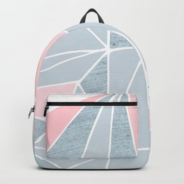Cool blue/grey and pink geometric prism pattern Backpack