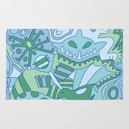 Abstract Animals - Blue and Green  Rug