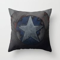 steve rogers Throw Pillows featuring Captain Steve Rogers by yurishwedoff