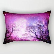 Black Trees Fuchsia Pink Space Rectangular Pillow