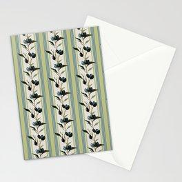 Olive Stripes - Green Sand Beige Blue Stationery Cards