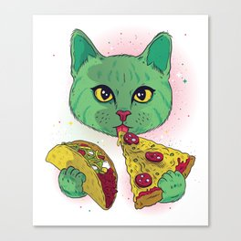 Yummy pizza and taco cat! Canvas Print