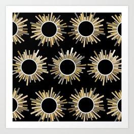 Art Deco Starburst in Black Art Print