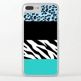 Animal Print, Zebra Stripes, Leopard Spots - Blue Clear iPhone Case