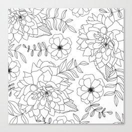 Dahlia Summer Tropical Art in White Canvas Print