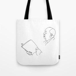Alfred Hitchcock Minimal Line Drawing Tote Bag
