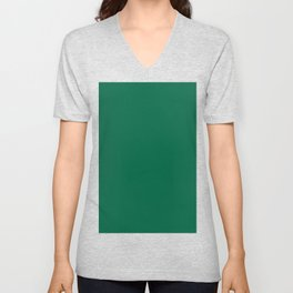 Green Bamboo Solid Color Block Unisex V-Neck
