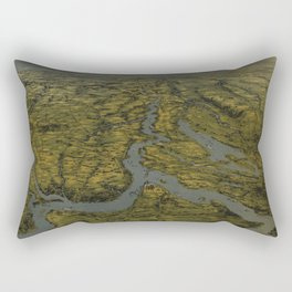 Vintage Bird's Eye Map of Tennessee & Kentucky (1862) Rectangular Pillow